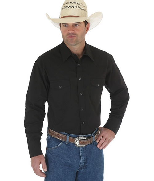 WRANGLER WESTERN SNAP SHIRT BLACK - Patton's