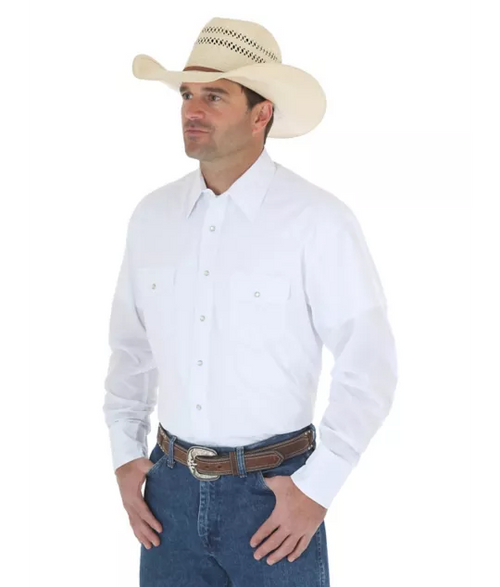 WRANGLER WESTERN SNAP SHIRT WHITE - Patton's