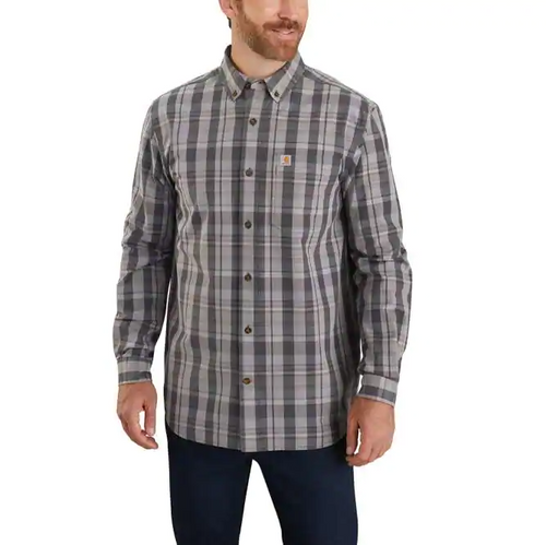 CARHARTT® RELAXED FIT COTTON LONG-SLEEVE PLAID SHIRT
