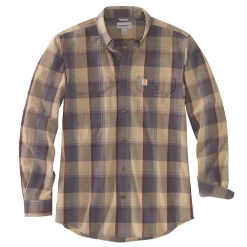 CARHARTT® ORIGINAL FIT CHAMBRAY LONG-SLEEVE PLAID SHIRT