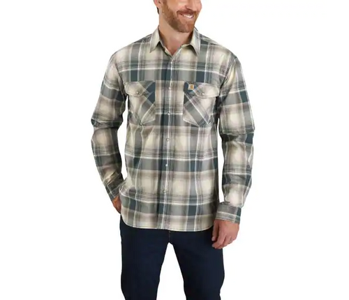 CARHARTT® RUGGED FLEX® RELAXED FIT LIGHTWEIGHT LONG-SLEEVE SNAP-FRONT PLAID SHIRT