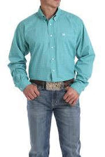 CINCH TEAL AND WHITE GEOMETRIC PRINT BUTTON-DOWN SHIRT - Patton's