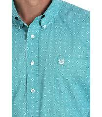 CINCH TEAL AND WHITE GEOMETRIC PRINT BUTTON-DOWN SHIRT