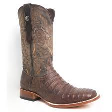 TANNER MARK NICOTINE MAD DOG CAIMAN BELLY PRINT SQ TOE BOOTS - Patton's