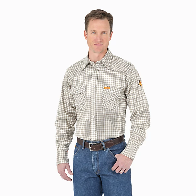 WRANGLER® FR FLAME RESISTANT LONG SLEEVE WESTERN SNAP PLAID SHIRT