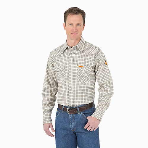 WRANGLER® FR FLAME RESISTANT LONG SLEEVE WESTERN SNAP PLAID SHIRT - Patton's
