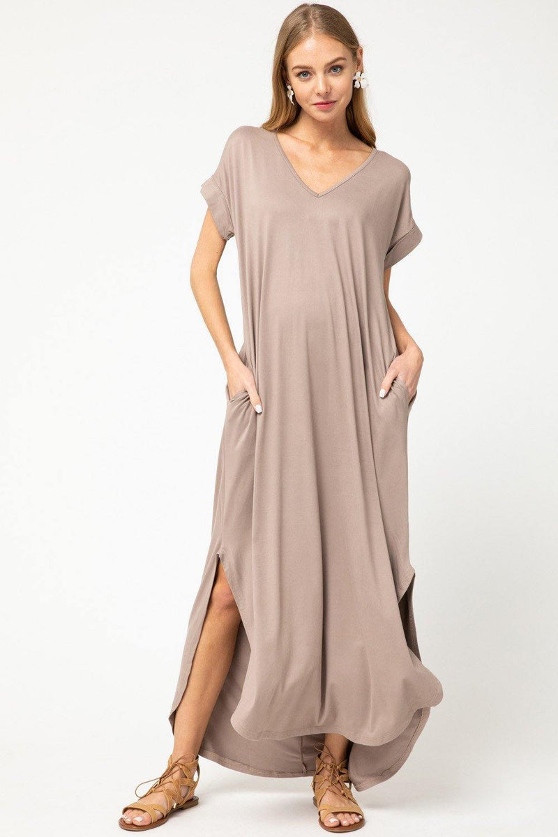 LUCY V NECK POCKET MAXI DRESS - Patton's