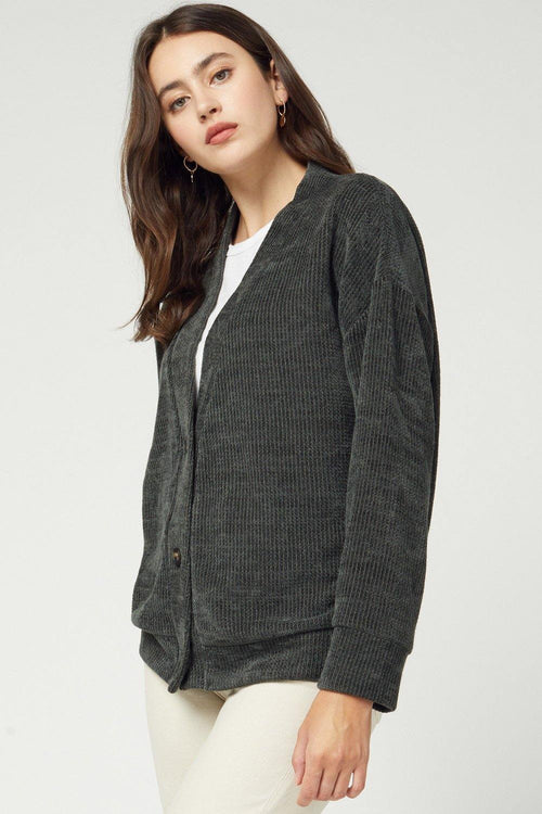 LAINEY SOLID RIBBED BUTTON DETAIL CARDIGAN