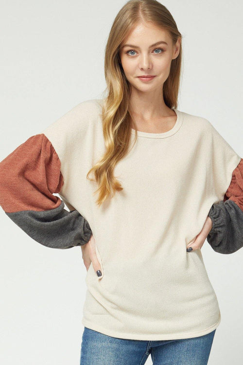 LYLA SCOOP NECK COLOR BLOCK TOP
