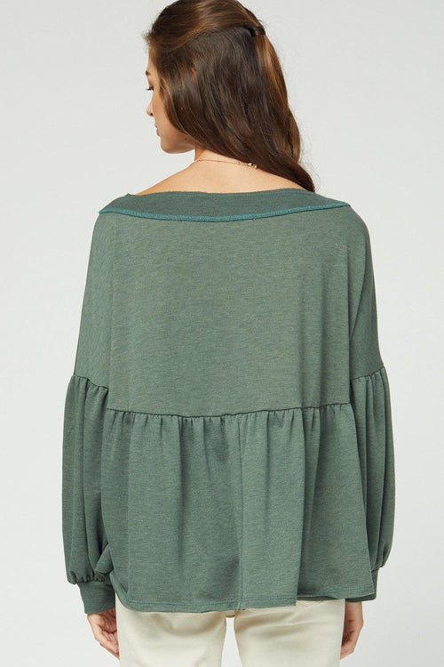 LYDIA LONG SLEEVE PEPLUM TOP