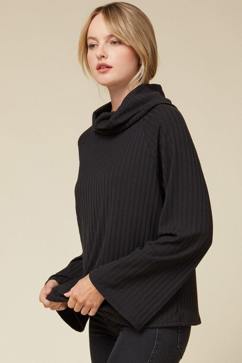 KARMEN SOLID RIBBED COWL NECK TOP
