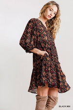 ANDREA FLORAL PRINT TIERED DRESS