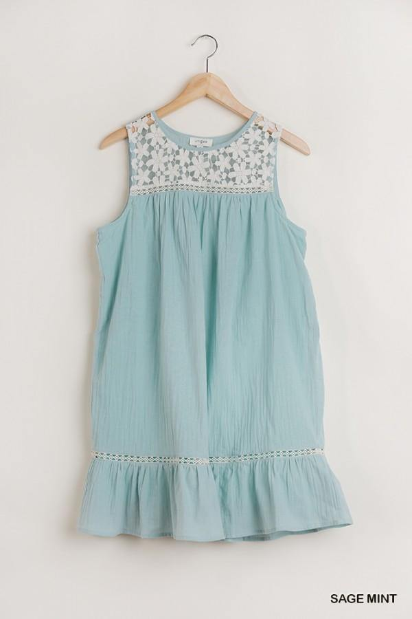 HOPE CROCHET LACE NECK SLEEVELESS DRESS - Patton's