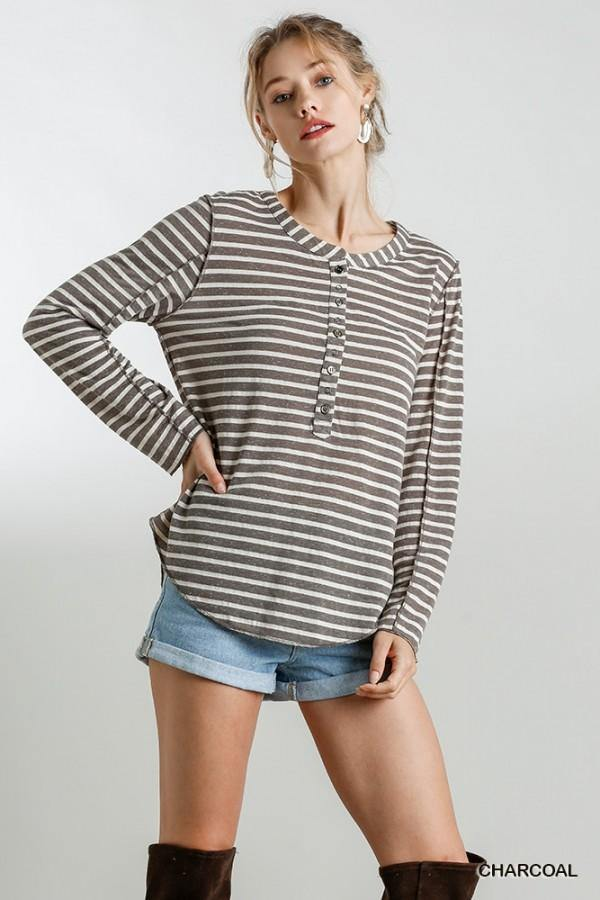 SHEILA STRIPED ROUND HEM TOP