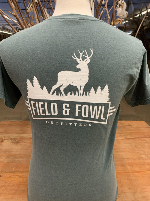 FIELD & FOWL BUCK ARCHED SS POCKET TEE - Patton's
