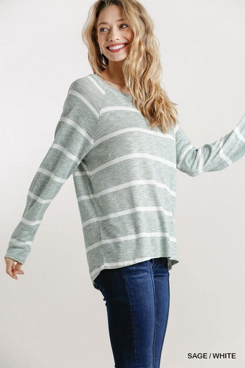 VINESSA STRIPED ROUND NECK TOP