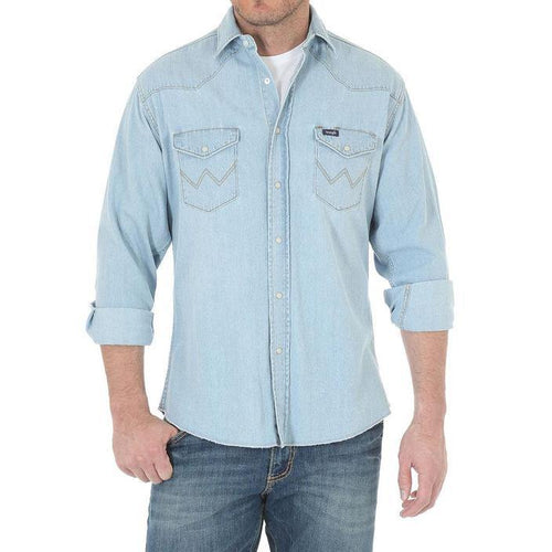 WRANGLER DENIM SHIRT BLEACH WASH VINTAGE LOOK PEARL SNAP - Patton's