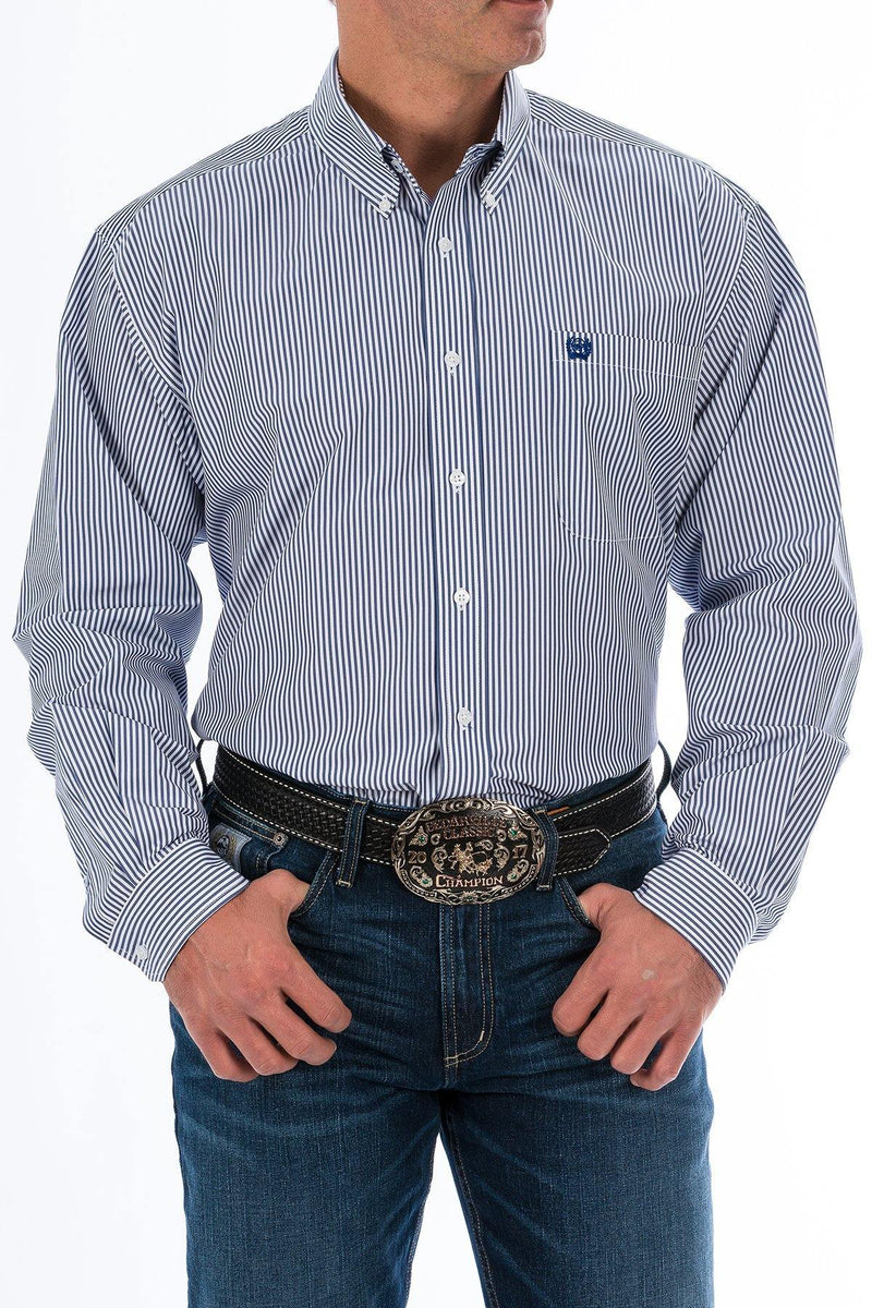 CINCH ROYAL BLUE STRIPE BUTTON-DOWN SHIRT - Patton's