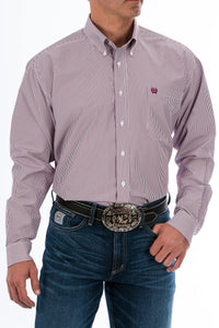 CINCH BURGUNDY STRIPE BUTTON-DOWN SHIRT