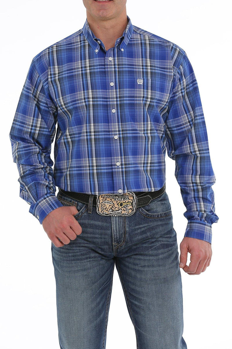 CINCH ROYAL BLUE, CREAM AND BLACK PLAID BUTTON-DOWN SHIRT