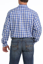 CINCH TENCEL ROYAL BLUE, GRAY AND CREAM PLAID BUTTON-DOWN SHIRT - Patton's
