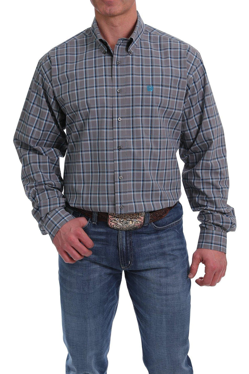 CINCH GRAY, TURQUOISE, WHITE AND BLACK PLAID BUTTON-DOWN SHIRT