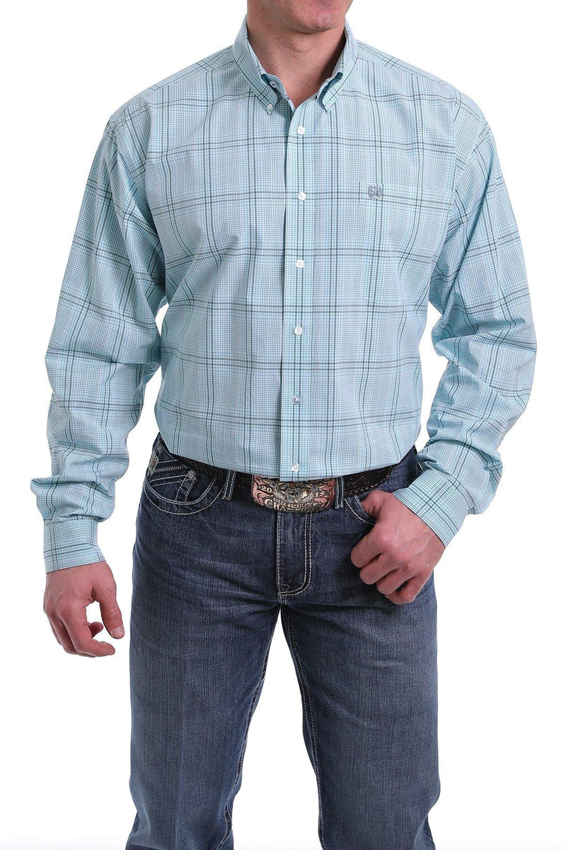 CINCH LIGHT BLUE, BLUE AND BLACK PLAID BUTTON-DOWN SHIRT