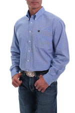 CINCH ROYAL BLUE, BLACK AND WHITE WINDOWPANE PLAID SHIRT