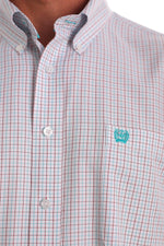CINCH TENCEL WHITE, RED AND TEAL TATTERSAL PLAID SHIRT