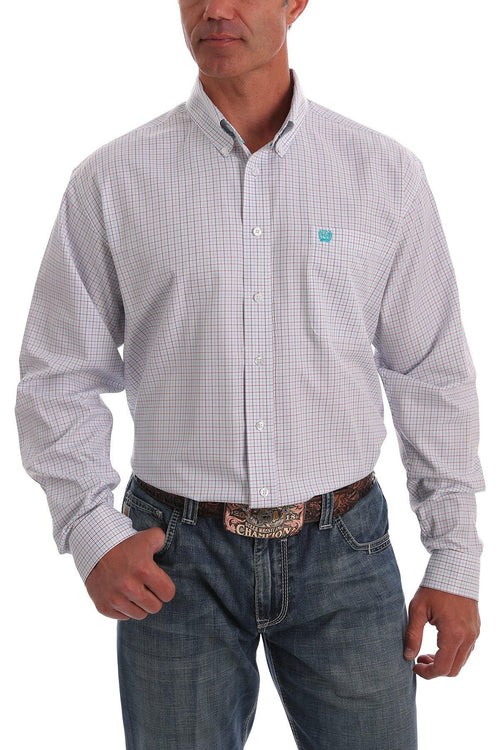CINCH TENCEL WHITE, RED AND TEAL TATTERSAL PLAID SHIRT - Patton's