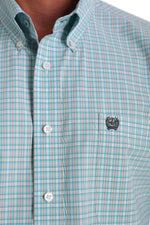 CINCH TEAL, GRAY AND WHITE WINDOWPANE SHIRT