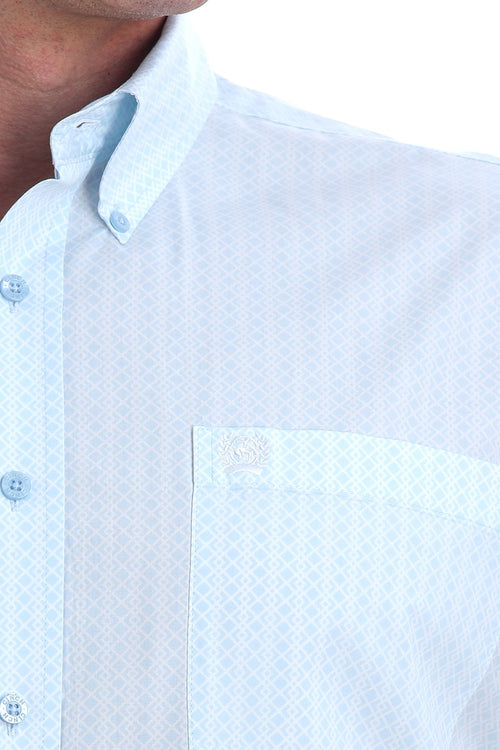 CINCH LIGHT BLUE AND WHITE GEOMENTRIC PRINT LS BUTTON SHIRT