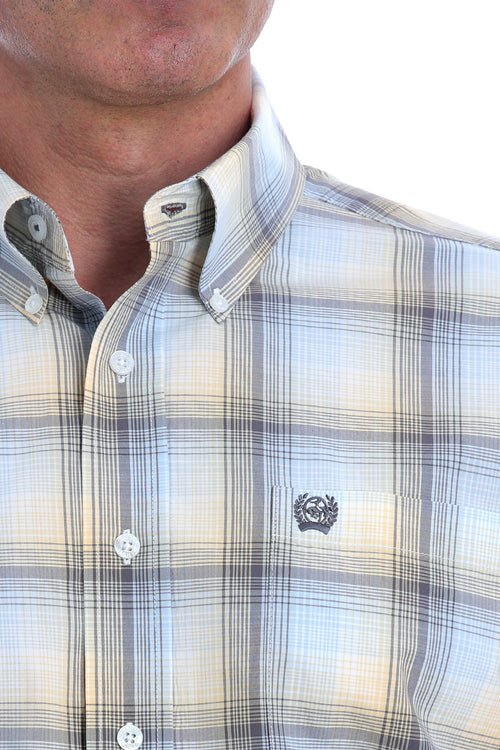 CINCH LIGHT BLUE, GOLD AND GRAY OMBRE PLAID LS BUTTON SHIRT