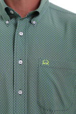 CINCH ARENAFLEX GREEN, NAVY, LIME AND BLUE DIAMOND PRINT SS SHIRT
