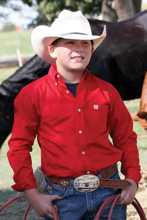 BOY'S CINCH RED SOLID BUTTON SHIRT - Patton's