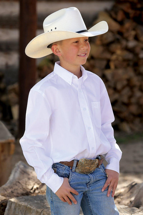 BOY'S CINCH WHITE SOLID BUTTON SHIRT - Patton's