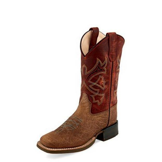 OLD WEST YOUTH RUST TAN BULLHIDE BOOT