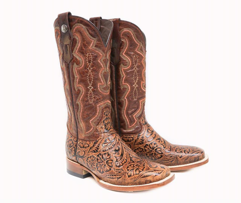TANNER MARK WOMEN'S COGNAC HAND TOOLED PRINT BOOTS - Patton's