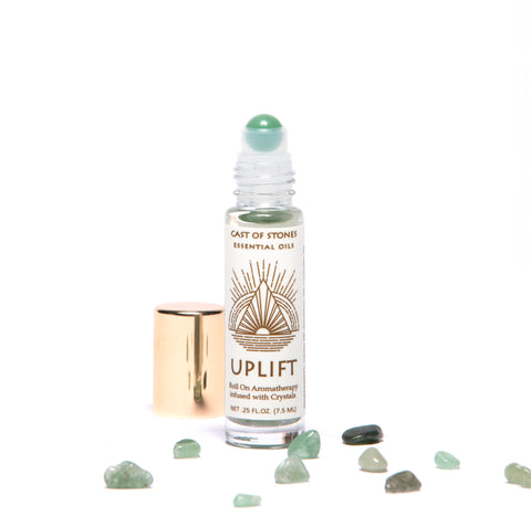 UPLIFT - ESSENTIAL OIL ROLL ON AROMATHERAPY INFUSED W/ CRYSTALS