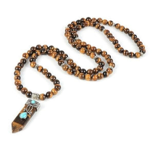 collier bouddhiste avec epee turquoise