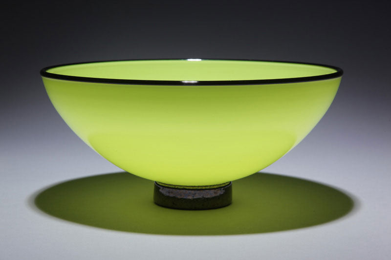Bowl Opaque Apple Green w Black Rim Foot