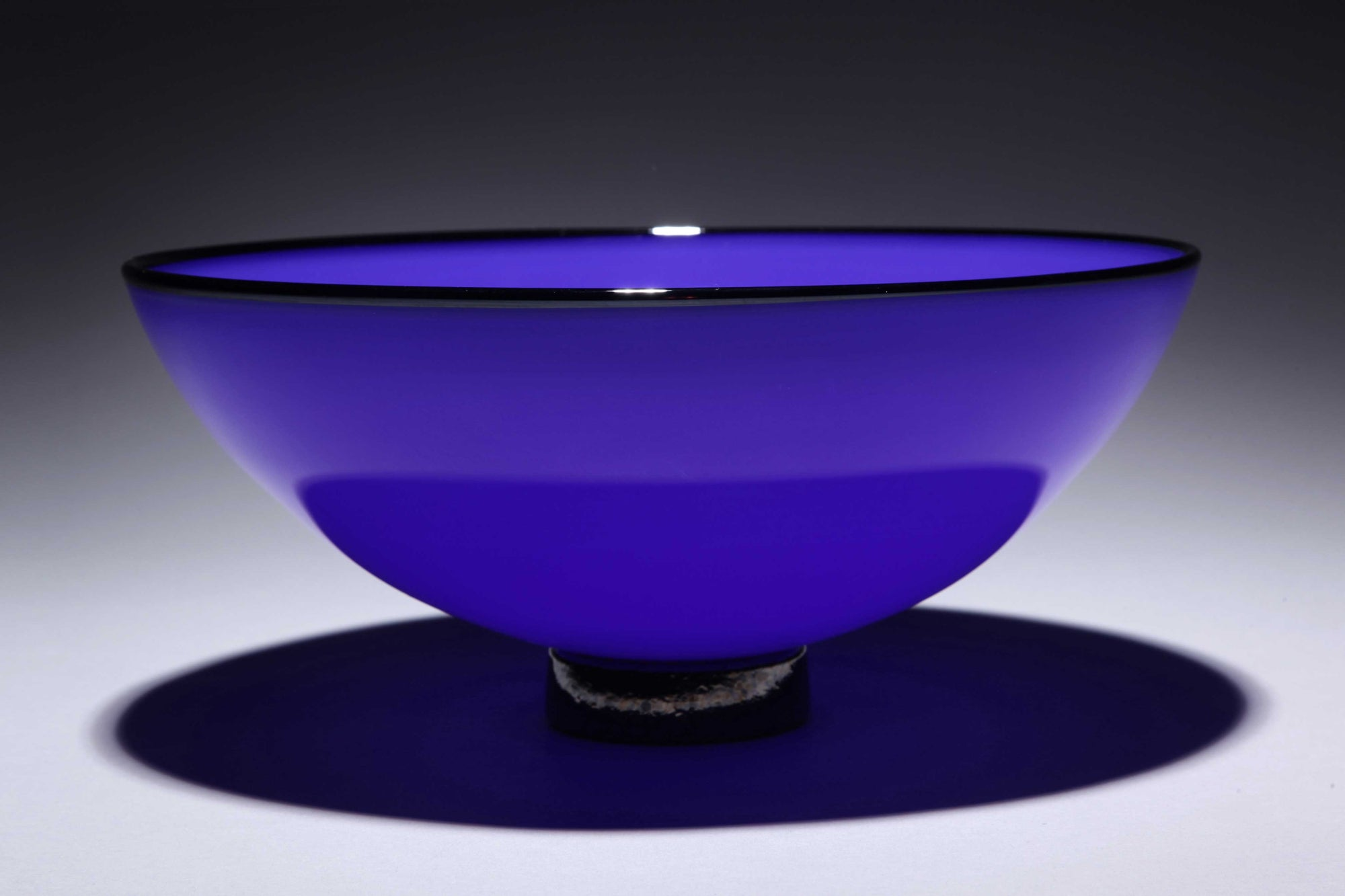 Bowl Opaque Sky Blue w Black Rim Foot