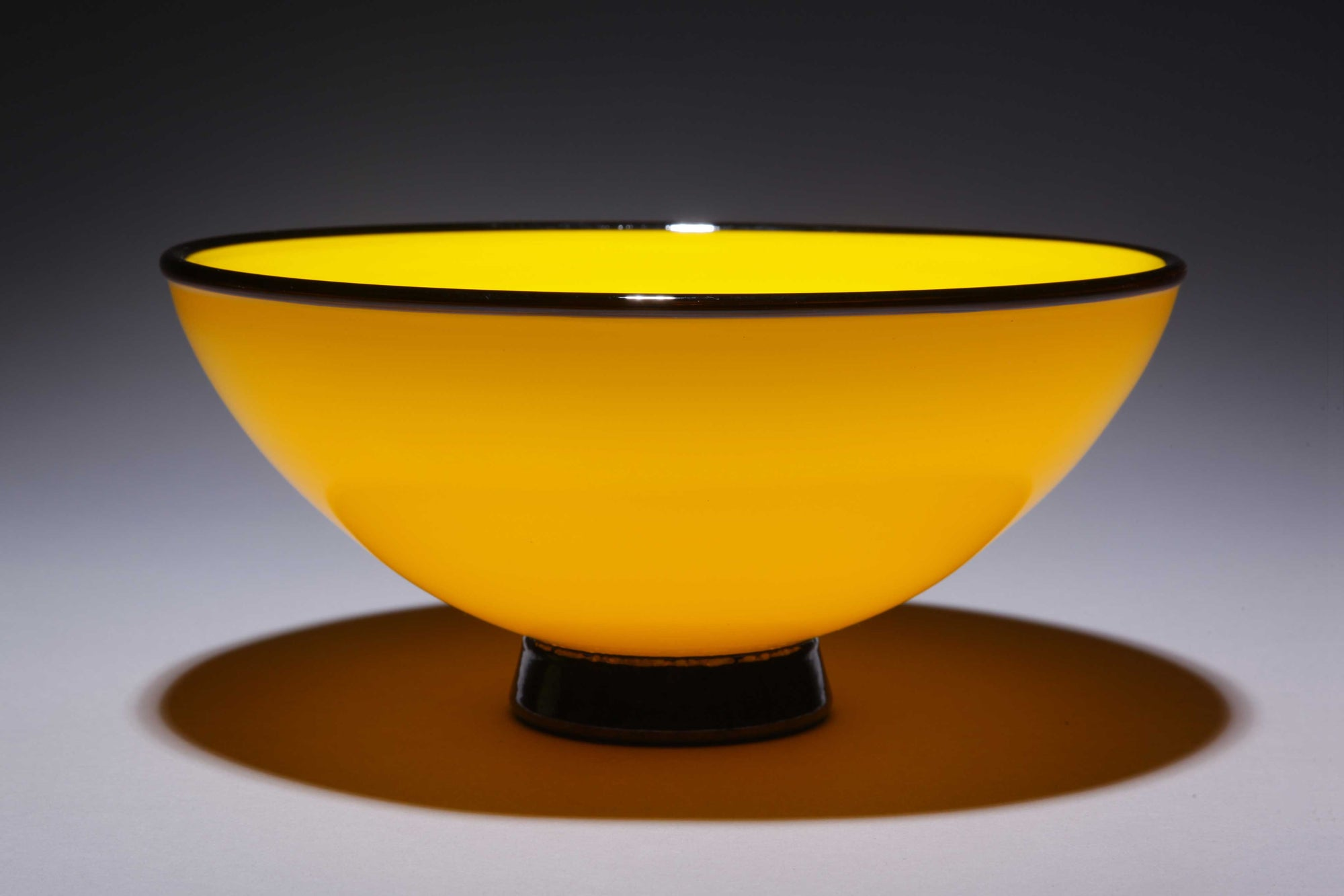 Bowl Opaque Golden Yellow w Black Rim Foot