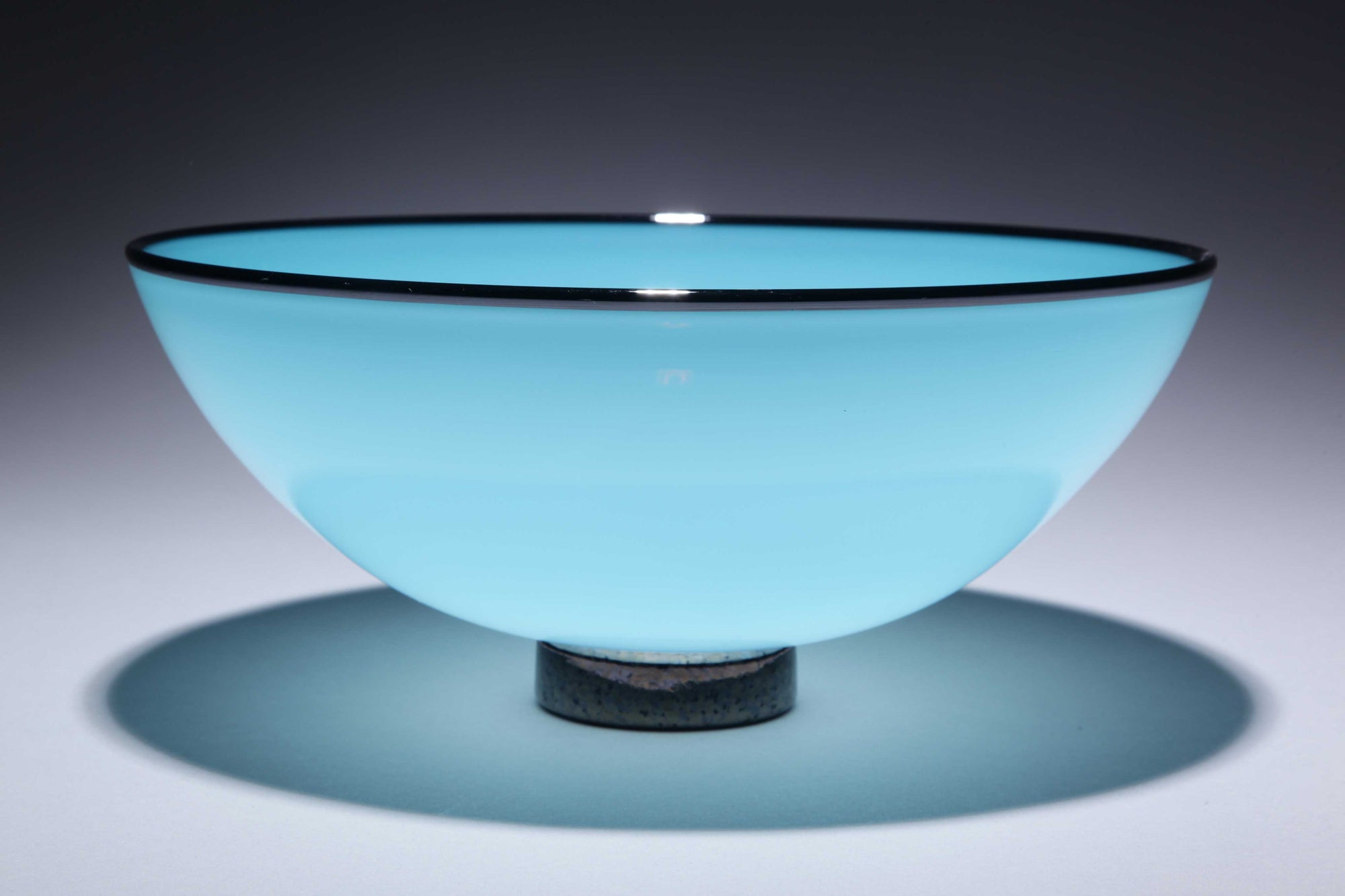 Bowl Opaque Turquoise w Black Rim Foot