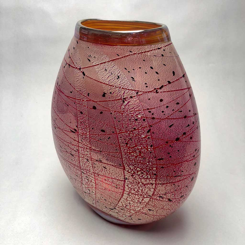 Ovoid Vase Red with Silver