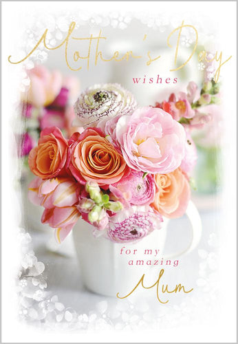 Crafty Gardens & Drones stones Greeting Card Peach Roses Mother's Day Wishes