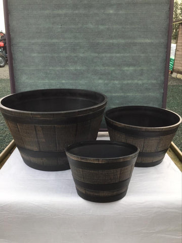 Crafty Gardens Wood Effect Barrel Planter