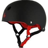 Triple 8 Sweatsaver Helmet - Black Rubber/Red