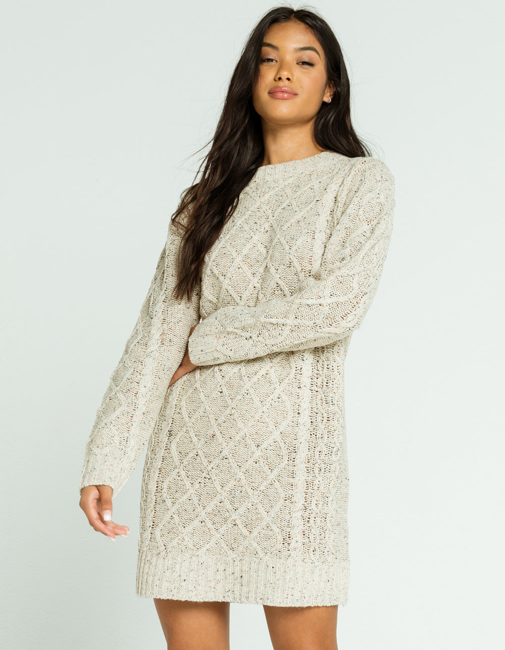 LUMIERE Cable Knit Sweater Dress