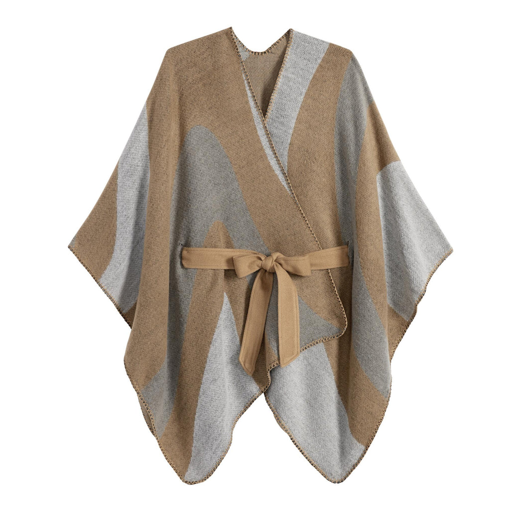 Gray And Tan Colorblock Blanket Wrap With Tie Belt by World Market